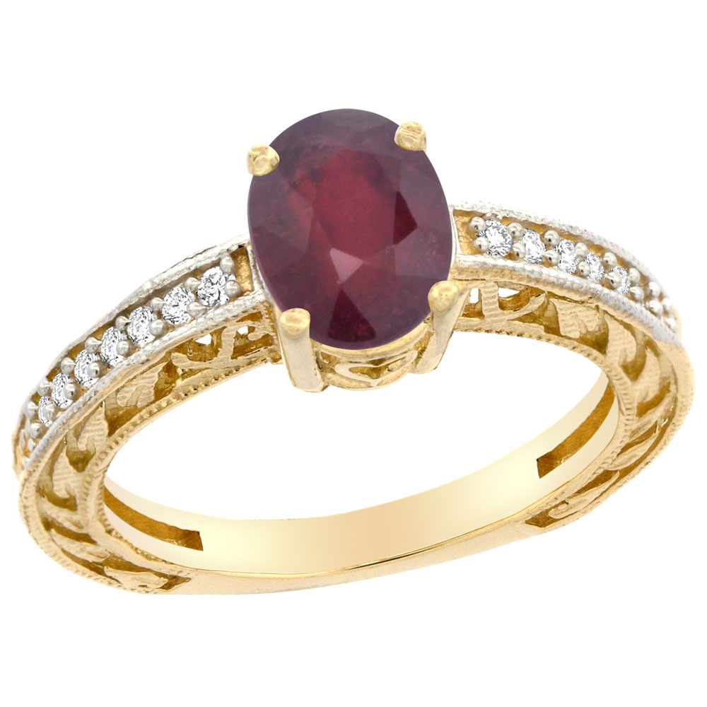 14K Gold Diamond Natural Quality Ruby Engagement Ring Oval 8x6, size 5 - 10