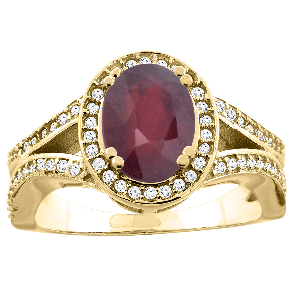 14k Gold Diamond Halo Enhanced Genuine Ruby Ring Split Shank Oval 8x6mm, size 5-10