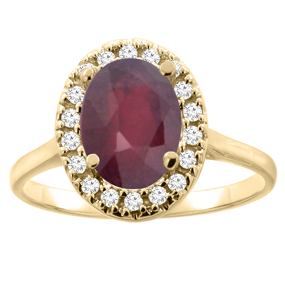 14K Gold Enhanced Ruby Halo Ring Oval 9x7mm Diamond Accent, sizes 5 - 10