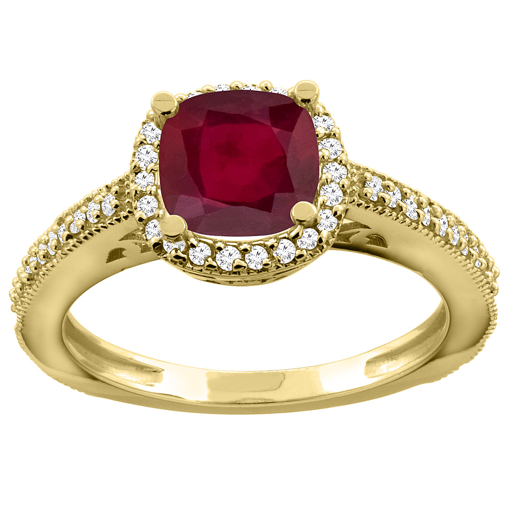 14K Gold Enhanced Genuine Ruby Engagement Ring Diamond Halo Cushion-cut 7x7mm, sizes 5 - 10