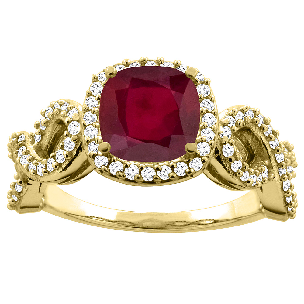 14K Gold Diamond and Enhanced Genuine Ruby Infinity Engagement Ring Cushion-cut 7x7 mm, sizes 5 - 10