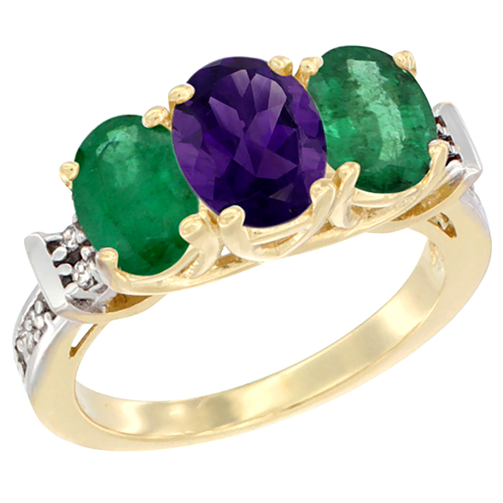 10K Yellow Gold Natural Amethyst & Emerald Sides Ring 3-Stone Oval Diamond Accent, sizes 5 - 10