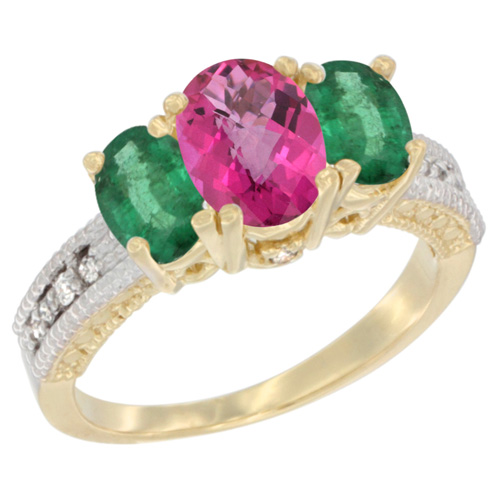 10K Yellow Gold Diamond Natural Pink Topaz 7x5mm & 6x4mm Quality Emerald Oval 3-stone Mothers Ring,sz5-10