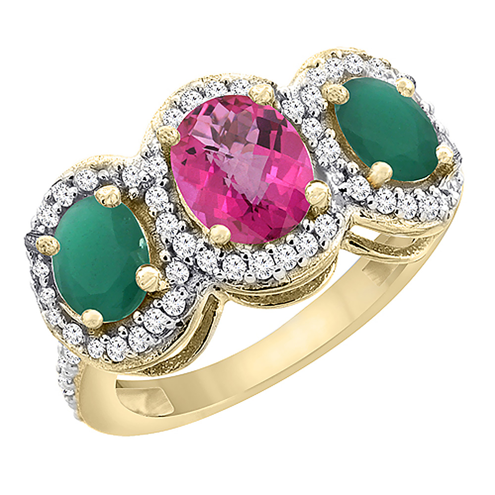 10K Yellow Gold Natural Pink Topaz & Cabochon Emerald 3-Stone Ring Oval Diamond Accent, sizes 5 - 10