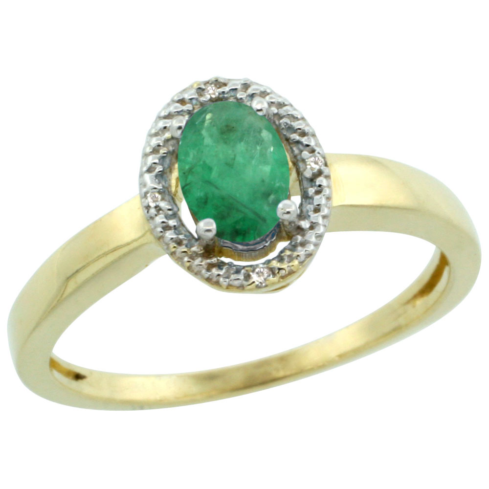 14K Yellow Gold Diamond Halo Natural Emerald Engagement Ring Oval 6X4 mm, sizes 5-10