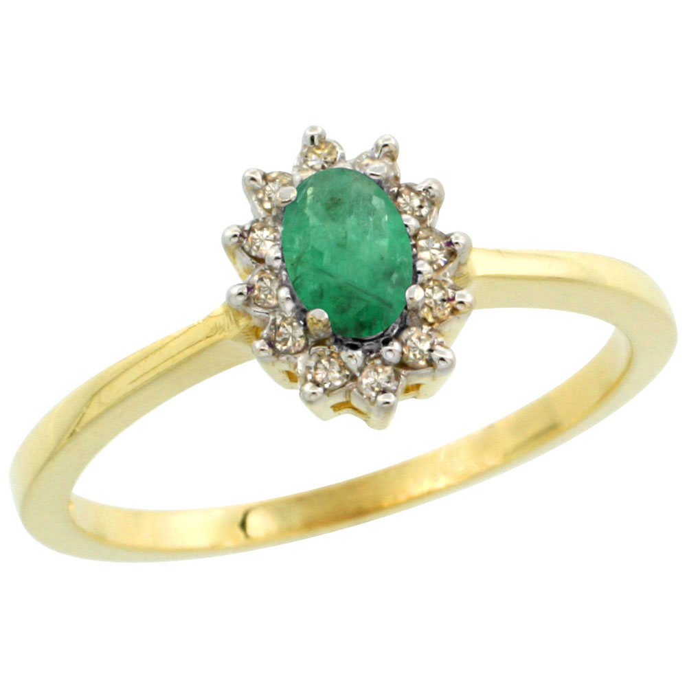 14K Yellow Gold Natural Cabochon Emerald Ring Oval 5x3mm Diamond Halo, sizes 5-10