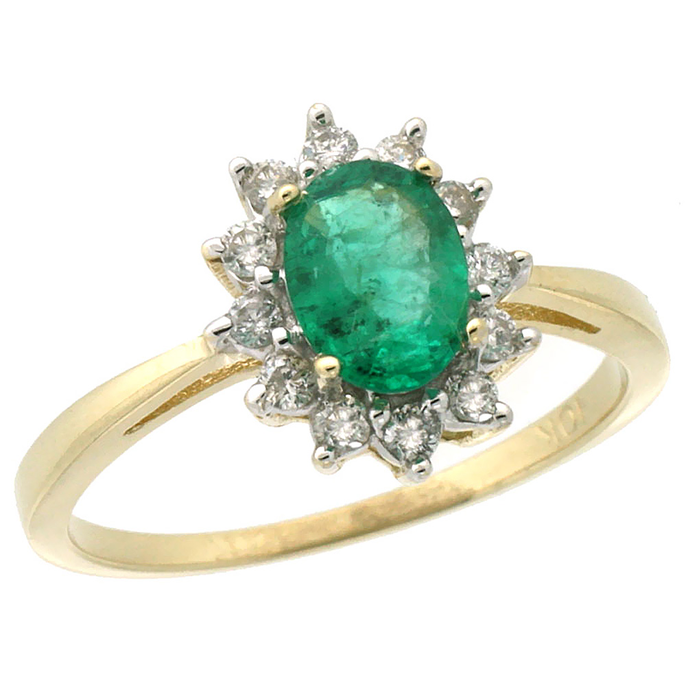 10k Yellow Gold Natural Emerald Engagement Ring Oval 7x5mm Diamond Halo, sizes 5-10