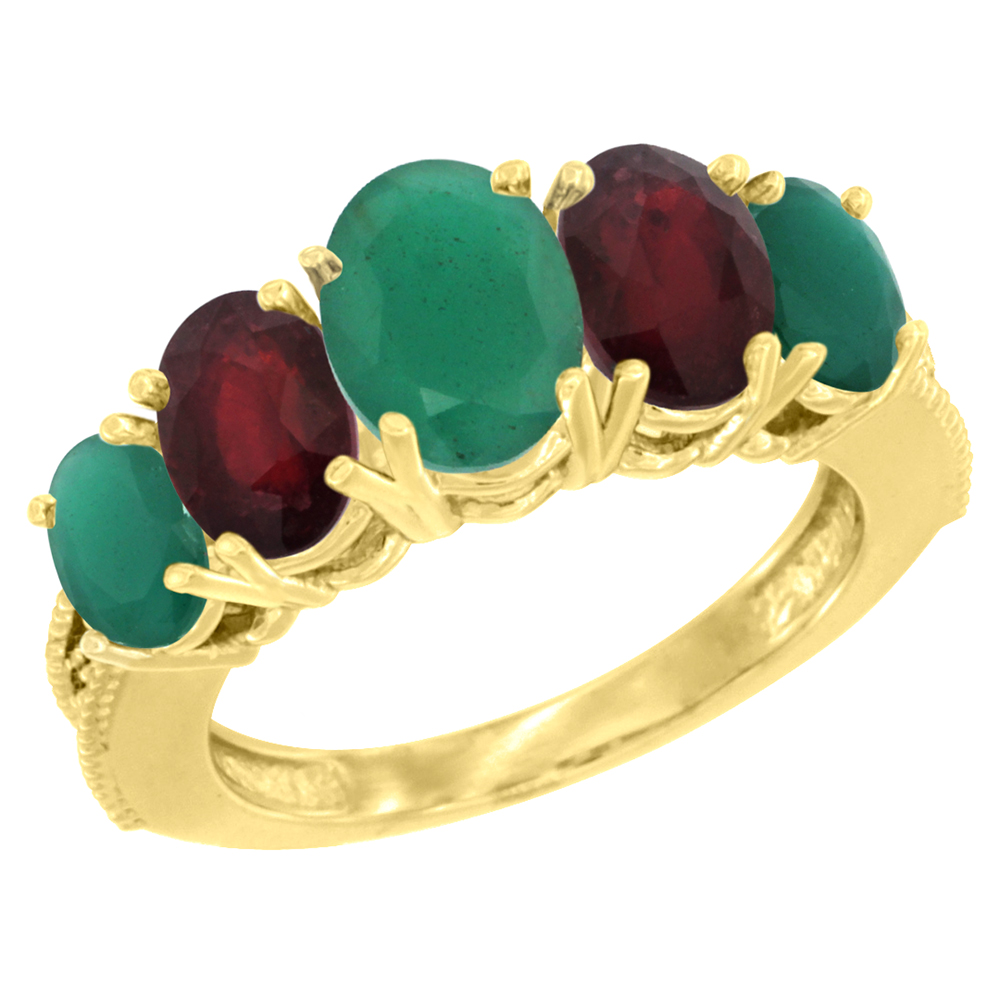 14K Yellow Gold Diamond Natural Emerald,Enhanced Genuine Ruby Ring 5-stone Oval 8x6 Ctr,7x5,6x4 sides, szs5-10