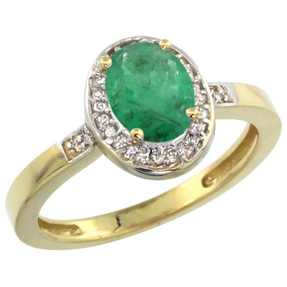 10K Yellow Gold Diamond Natural Emerald Engagement Ring Oval 7x5mm, sizes 5-10