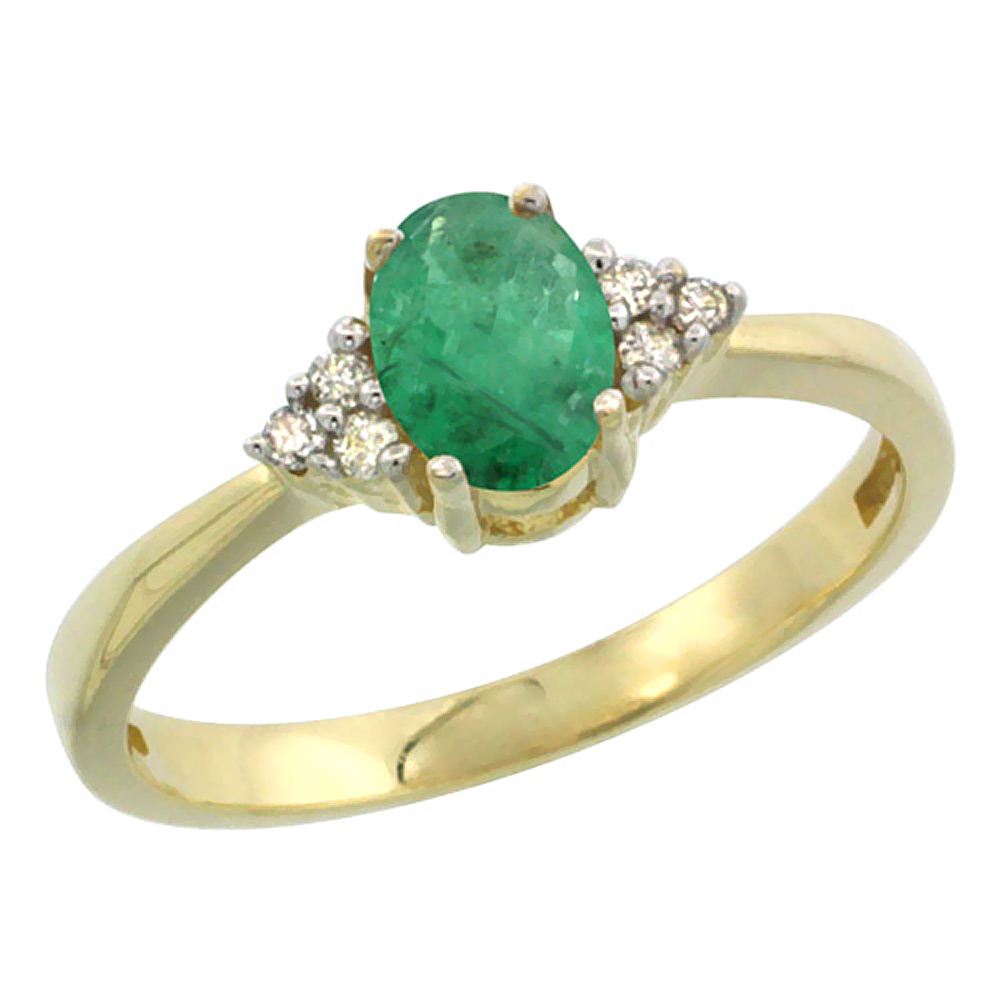 14K Yellow Gold Natural Emerald Ring Oval 6x4mm Diamond Accent, sizes 5-10