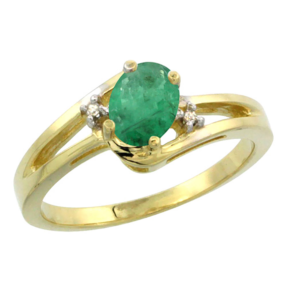 14K Yellow Gold Diamond Natural Emerald Ring Oval 6x4 mm, sizes 5-10