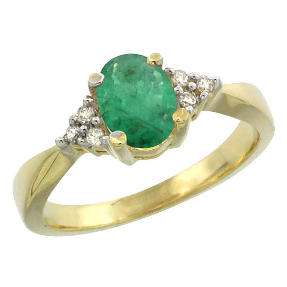 14K Yellow Gold Diamond Natural Emerald Engagement Ring Oval 7x5mm, sizes 5-10