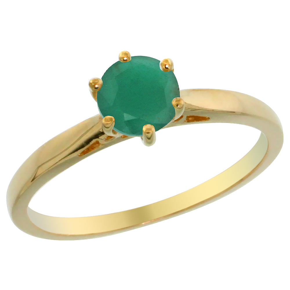 14K Yellow Gold Natural Emerald Solitaire Ring Round 5mm, sizes 5 - 10
