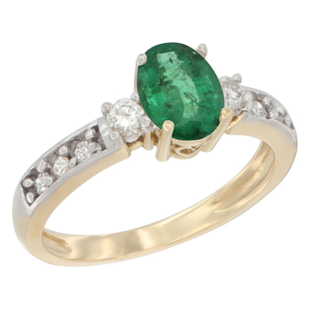 10k Yellow Gold Natural Emerald Ring Oval 7x5 mm Diamond Accent, sizes 5 - 10