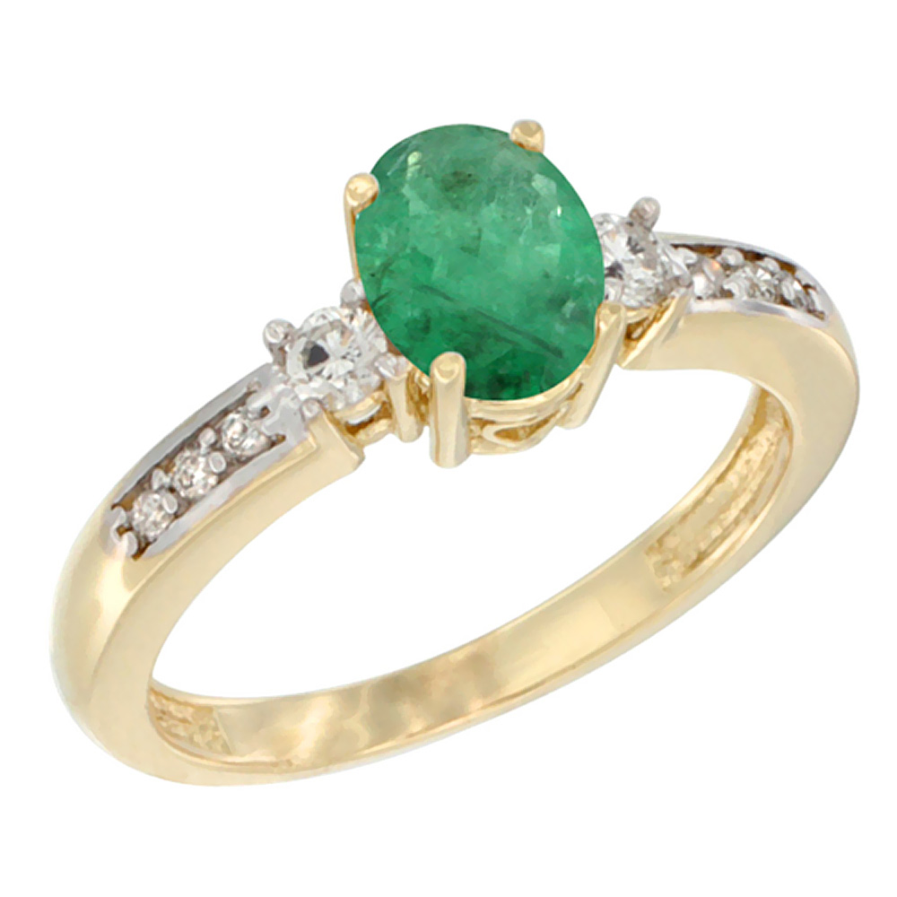 10K Yellow Gold Diamond Natural Emerald Engagement Ring Oval 7x5 mm, sizes 5 - 10