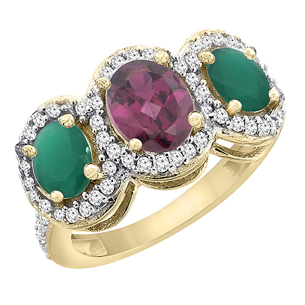 14K Yellow Gold Natural Rhodolite & Cabochon Emerald 3-Stone Ring Oval Diamond Accent, sizes 5 - 10