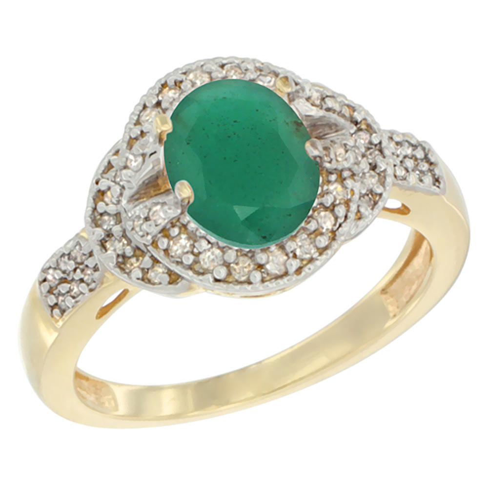 14K Yellow Gold Natural Cabochon Emerald Ring Oval 8x6 mm Diamond Accent, sizes 5 - 10