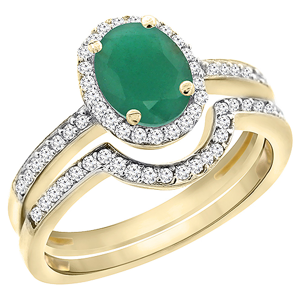 10K Yellow Gold Diamond Natural Emerald 2-Pc. Engagement Ring Set Oval 8x6 mm, sizes 5 - 10