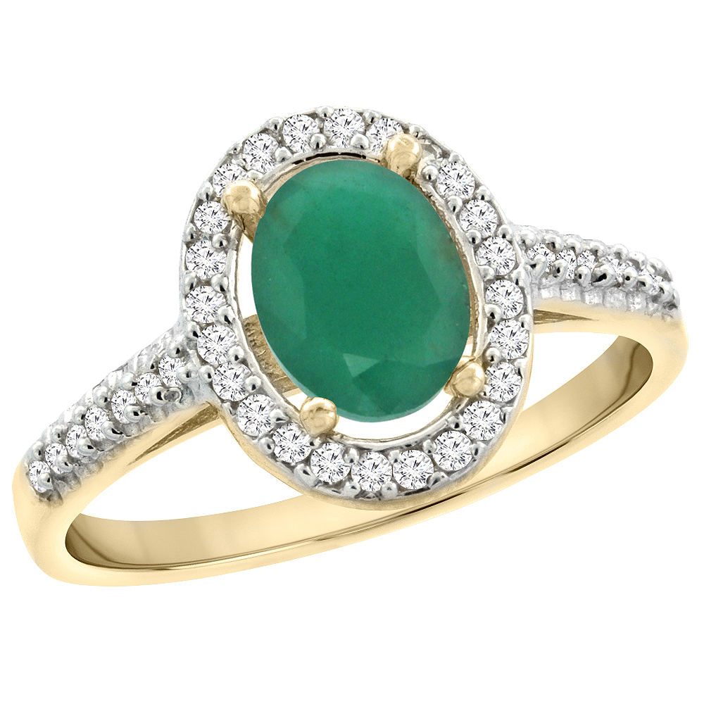 14K Yellow Gold Natural Emerald Engagement Ring Oval 7x5 mm Diamond Halo, sizes 5 - 10