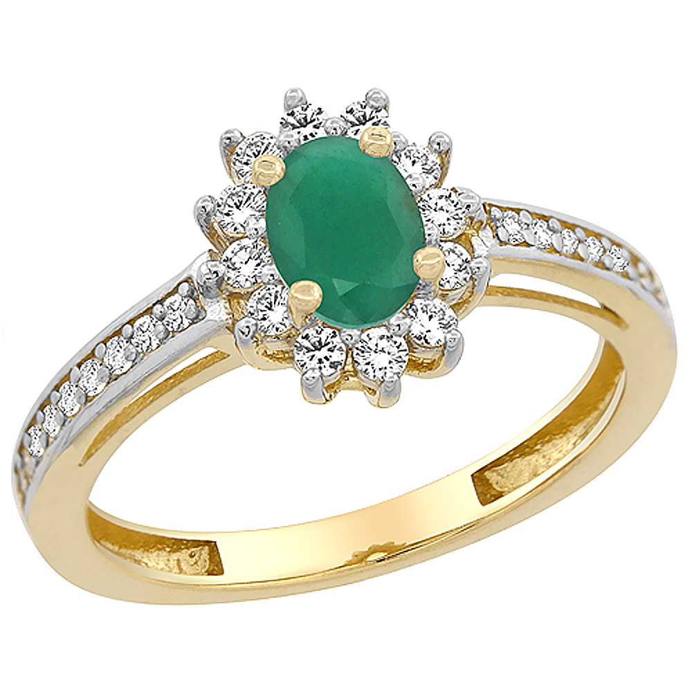 10K Yellow Gold Natural Emerald Flower Halo Ring Oval 6x4 mm Diamond Accents, sizes 5 - 10