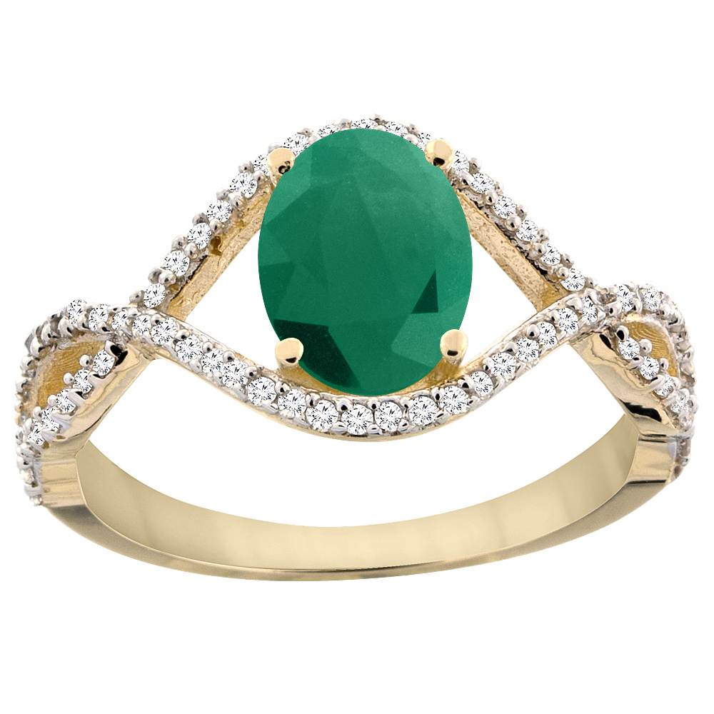 10K Yellow Gold Natural Cabochon Emerald Ring Oval 8x6 mm Infinity Diamond Accents, sizes 5 - 10