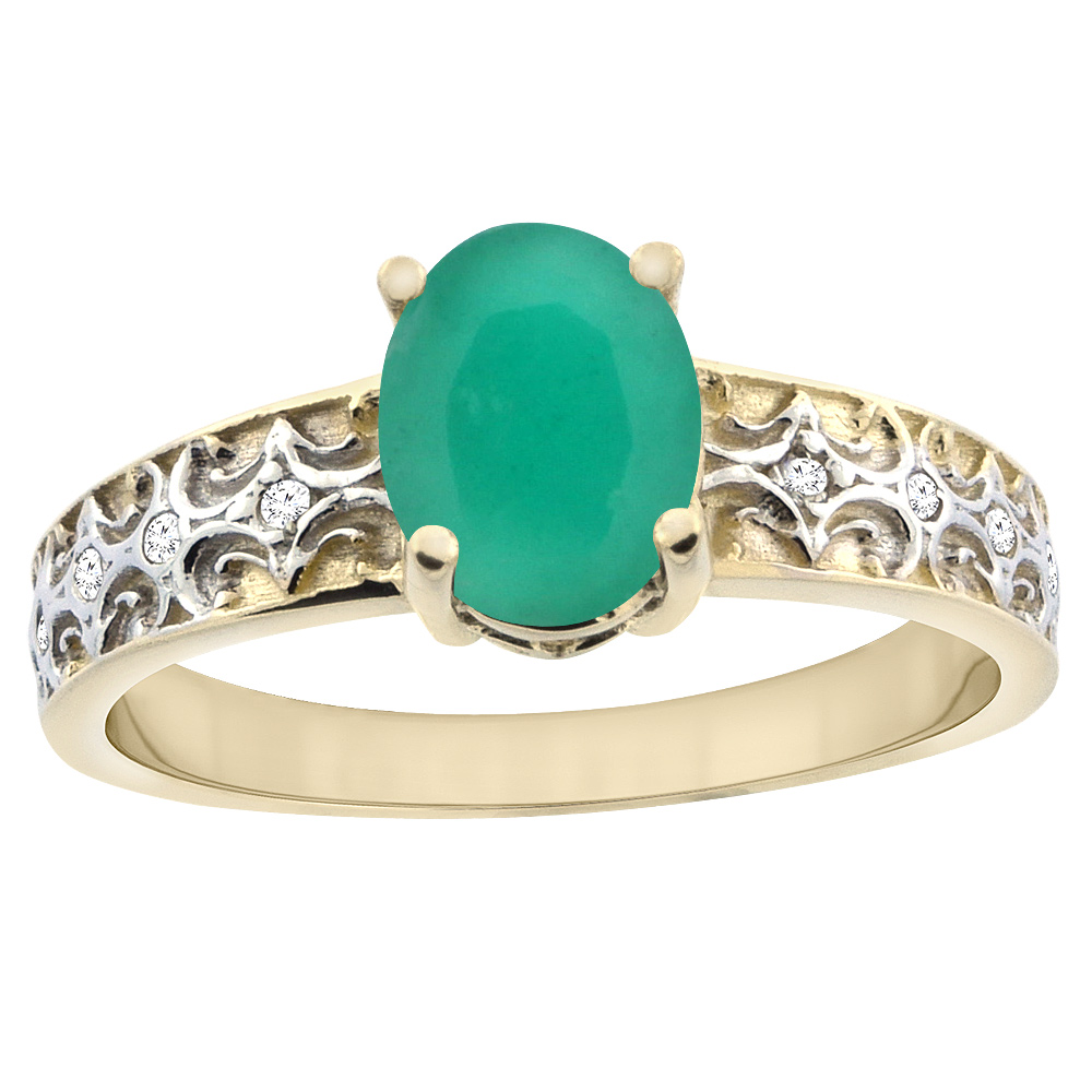10K Yellow Gold Natural Cabochon Emerald Ring Oval 8x6 mm Diamond Accents, sizes 5 - 10