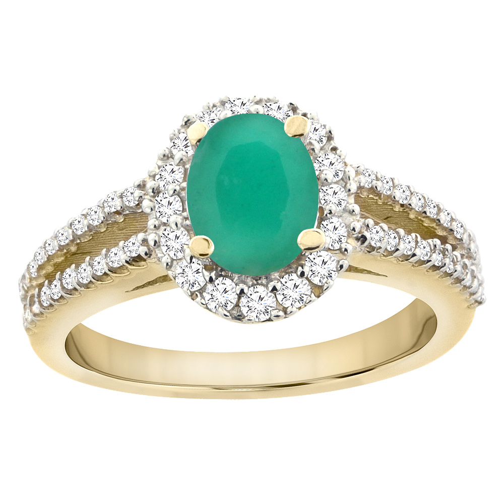 10K Yellow Gold Natural Cabochon Emerald Split Shank Halo Engagement Ring Oval 7x5 mm, sizes 5 - 10