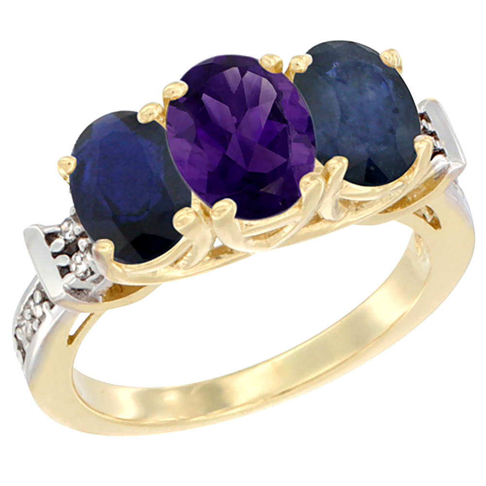 10K Yellow Gold Natural Amethyst & Blue Sapphire Sides Ring 3-Stone Oval Diamond Accent, sizes 5 - 10