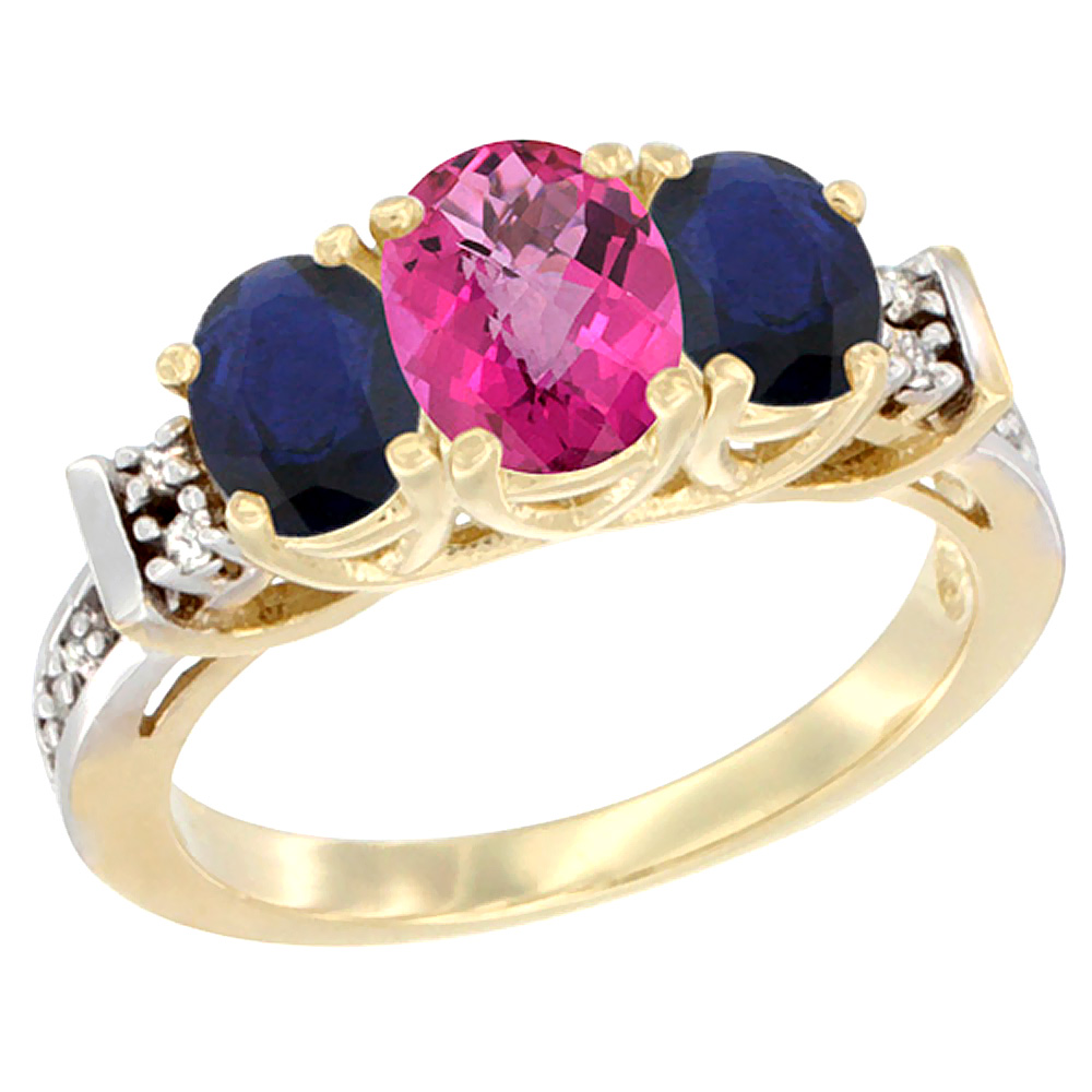 10K Yellow Gold Natural Pink Topaz & High Quality Blue Sapphire Ring 3-Stone Oval Diamond Accent