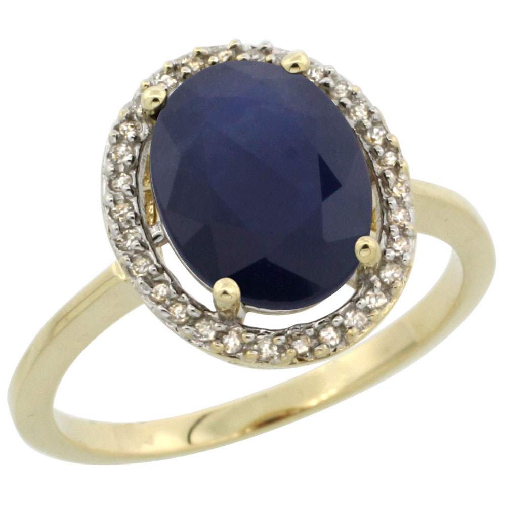 10K Yellow Gold Diamond Halo Natural Blue Sapphire Engagement Ring Oval 10x8 mm, sizes 5-10
