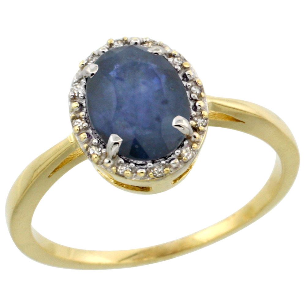14K Yellow Gold Natural Blue Sapphire Ring Oval 8x6 mm Diamond Halo, sizes 5-10