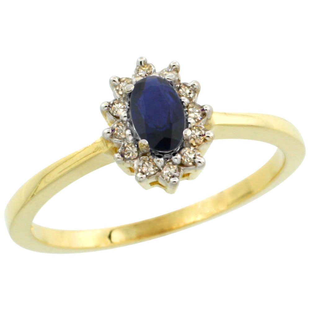10k Yellow Gold Natural Blue Sapphire Ring Oval 5x3mm Diamond Halo, sizes 5-10