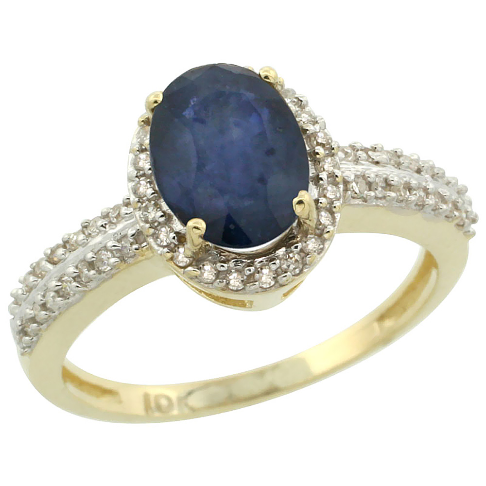 10k Yellow Gold Natural Blue Sapphire Ring Oval 8x6mm Diamond Halo, sizes 5-10