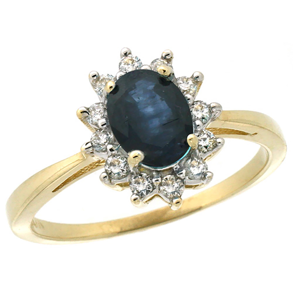 10k Yellow Gold Natural Blue Sapphire Engagement Ring Oval 7x5mm Diamond Halo, sizes 5-10