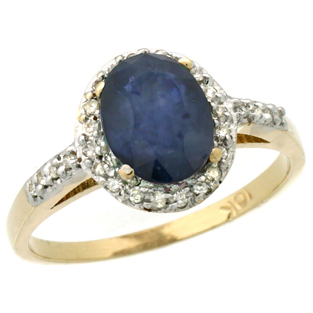 10K Yellow Gold Natural Diamond Blue Sapphire Ring Oval 8x6mm, sizes 5-10