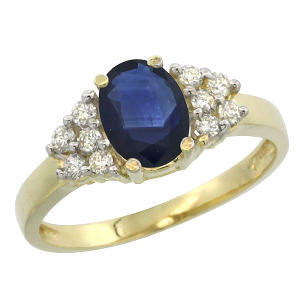 14K Yellow Gold Natural Blue Sapphire Ring Oval 8x6mm Diamond Accent, sizes 5-10