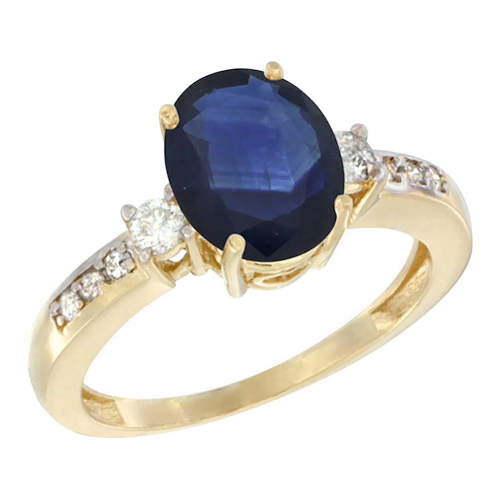 14K Yellow Gold Natural Diffused Ceylon Sapphire Ring Oval 9x7 mm Diamond Accent, sizes 5 - 10