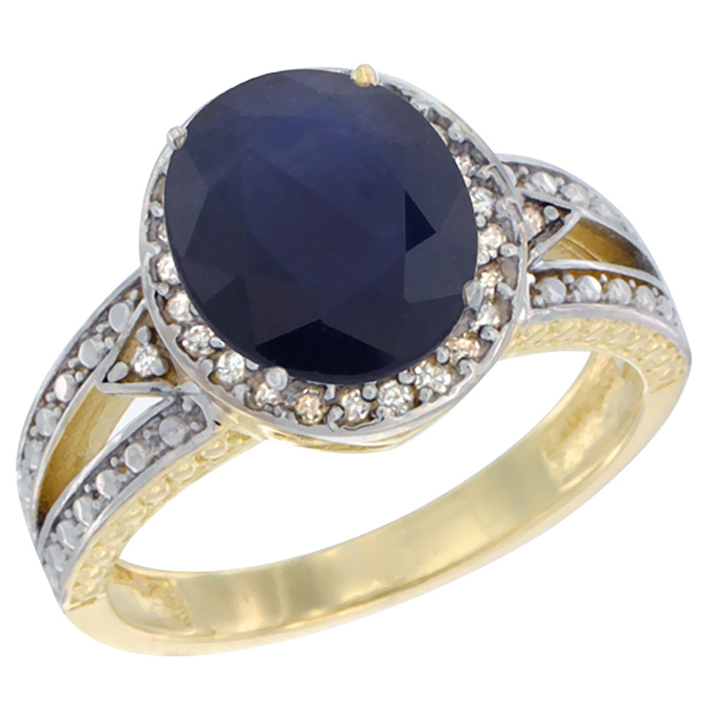 10k Yellow Gold Natural Diffused Ceylon Sapphire Ring Oval 9x7 mm Diamond Halo, sizes 5 - 10