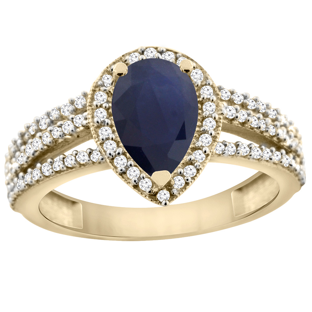14K Yellow Gold Natural Diffused Ceylon Sapphire Ring 9x7 Pear Halo Diamond, sizes 5 - 10