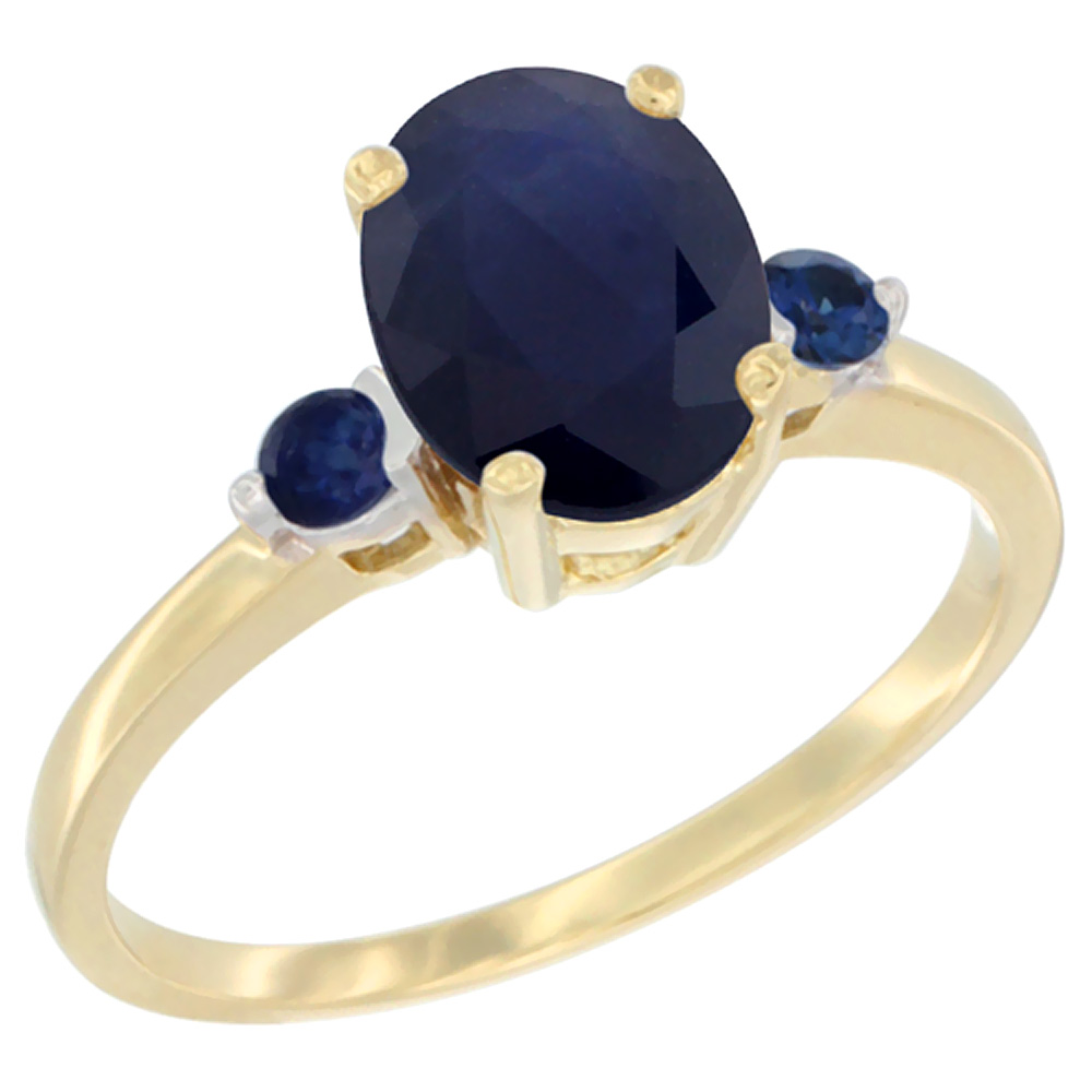 14K Yellow Gold Natural Diffused Ceylon Sapphire Ring Oval 9x7 mm Blue Sapphire Accent, sizes 5 to 10