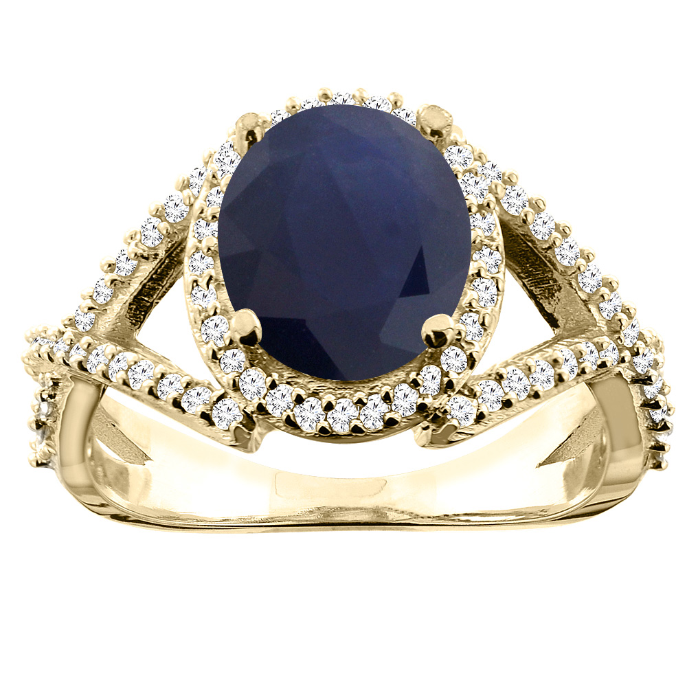 10K Yellow Gold Natural Diffused Ceylon Sapphire Ring Oval 9x7mm Diamond Accent, size 5