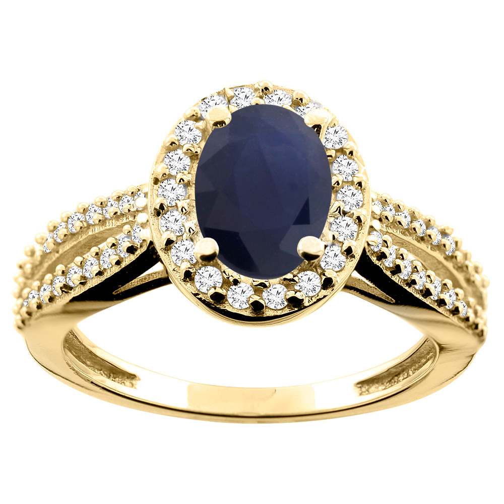 10K White/Yellow/Rose Gold Natural Australian Sapphire Ring Oval 8x6mm Diamond Accent, size 5