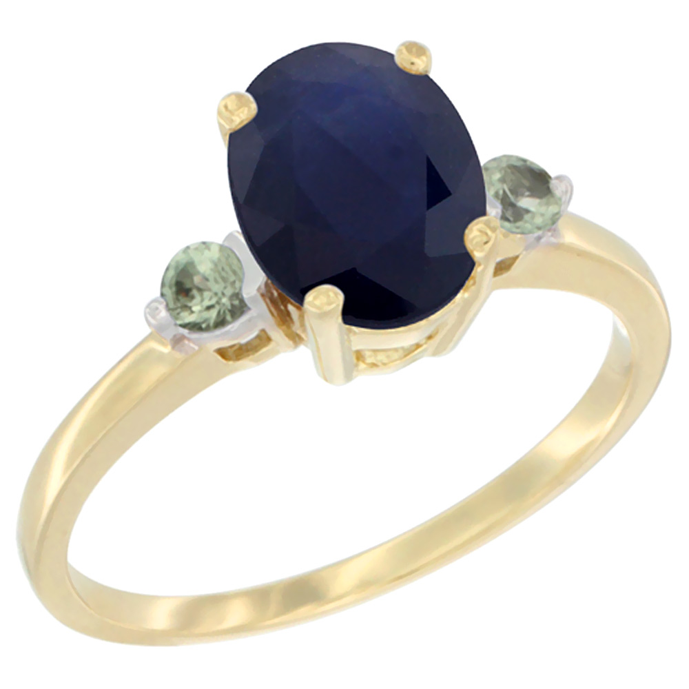 14K Yellow Gold Natural Diffused Ceylon Sapphire Ring Oval 9x7 mm Green Sapphire Accent, sizes 5 to 10