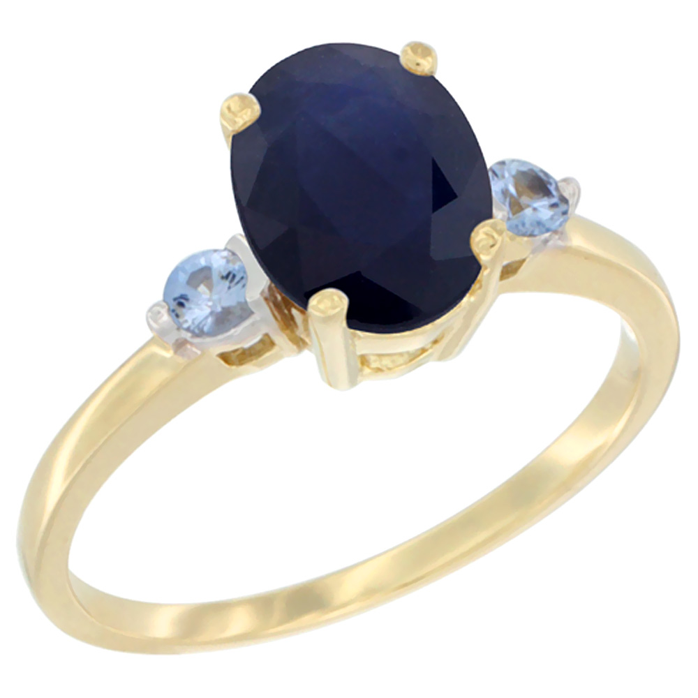 10K Yellow Gold Natural Diffused Ceylon Sapphire Ring Oval 9x7 mm Light Blue Sapphire Accent, sizes 5 to 10