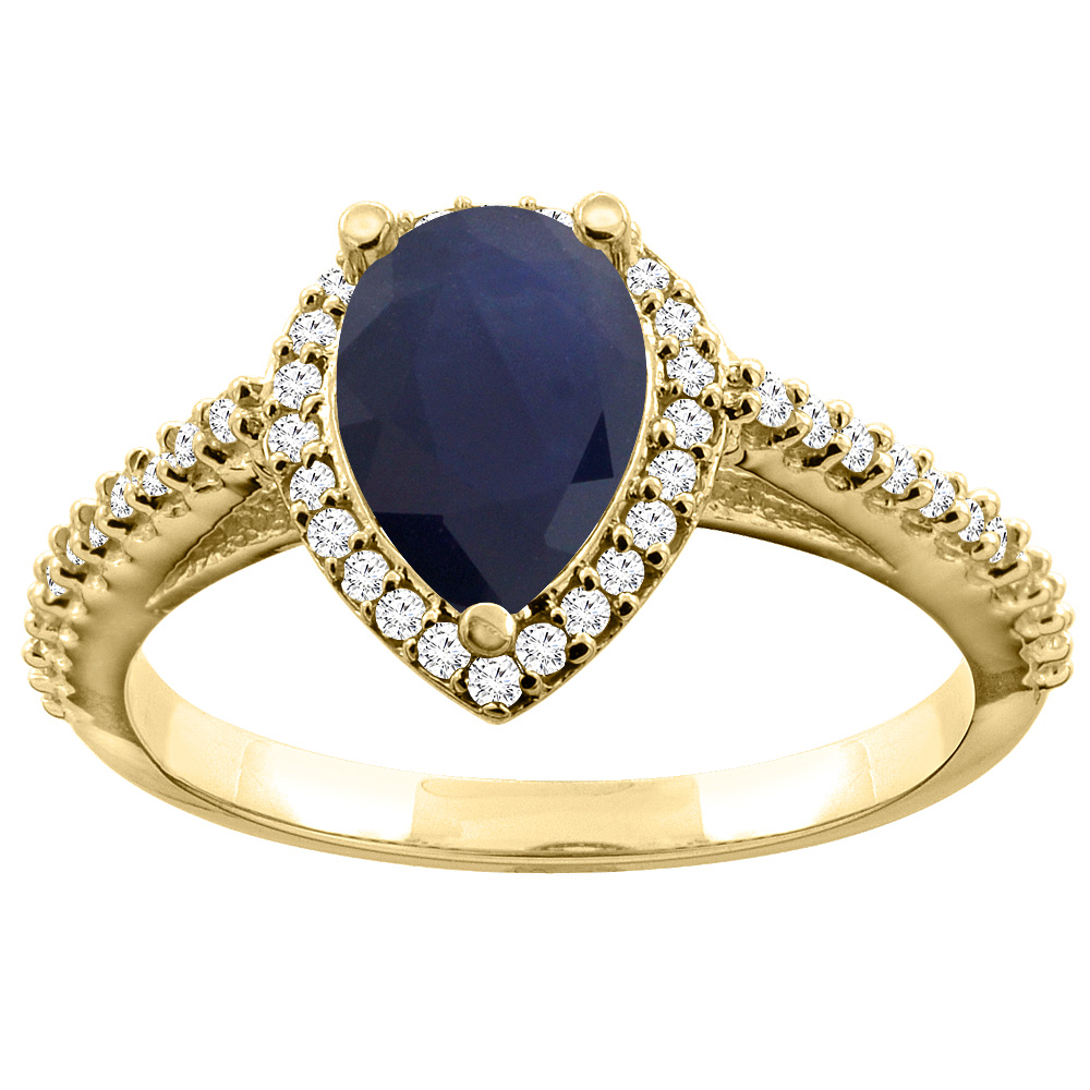 10K Yellow Gold Natural Diffused Ceylon Sapphire Ring Pear 9x7mm Diamond Accents, sizes 5 - 10