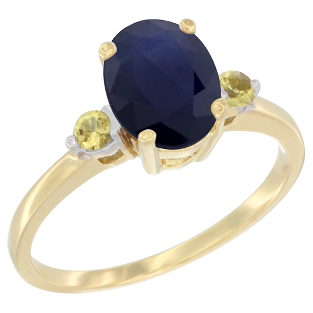 14K Yellow Gold Natural Diffused Ceylon Sapphire Ring Oval 9x7 mm Yellow Sapphire Accent, sizes 5 to 10