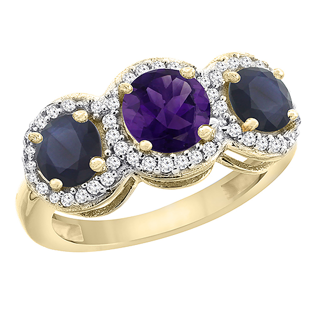10K Yellow Gold Natural Amethyst & High Quality Blue Sapphire Sides Round 3-stone Ring Diamond Accents, sizes 5 - 10