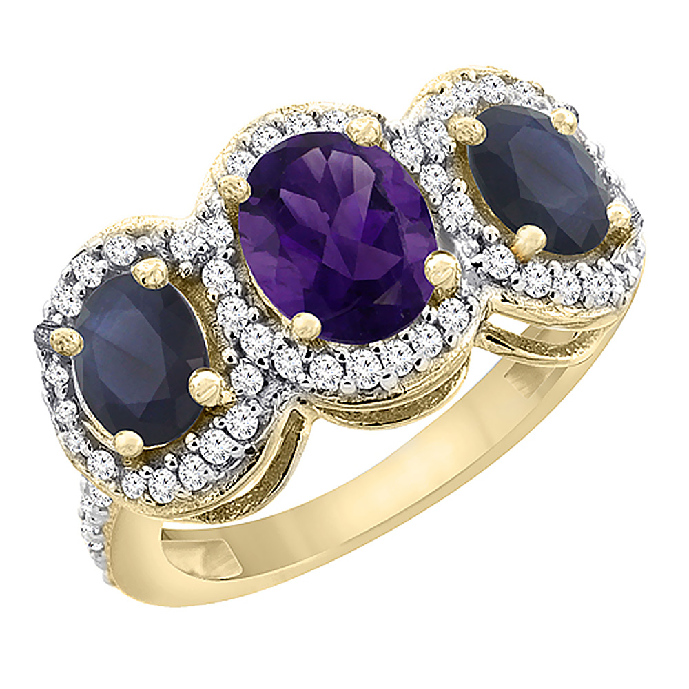 10K Yellow Gold Natural Amethyst & Quality Blue Sapphire 3-stone Mothers Ring Oval Diamond Accent,sz5-10