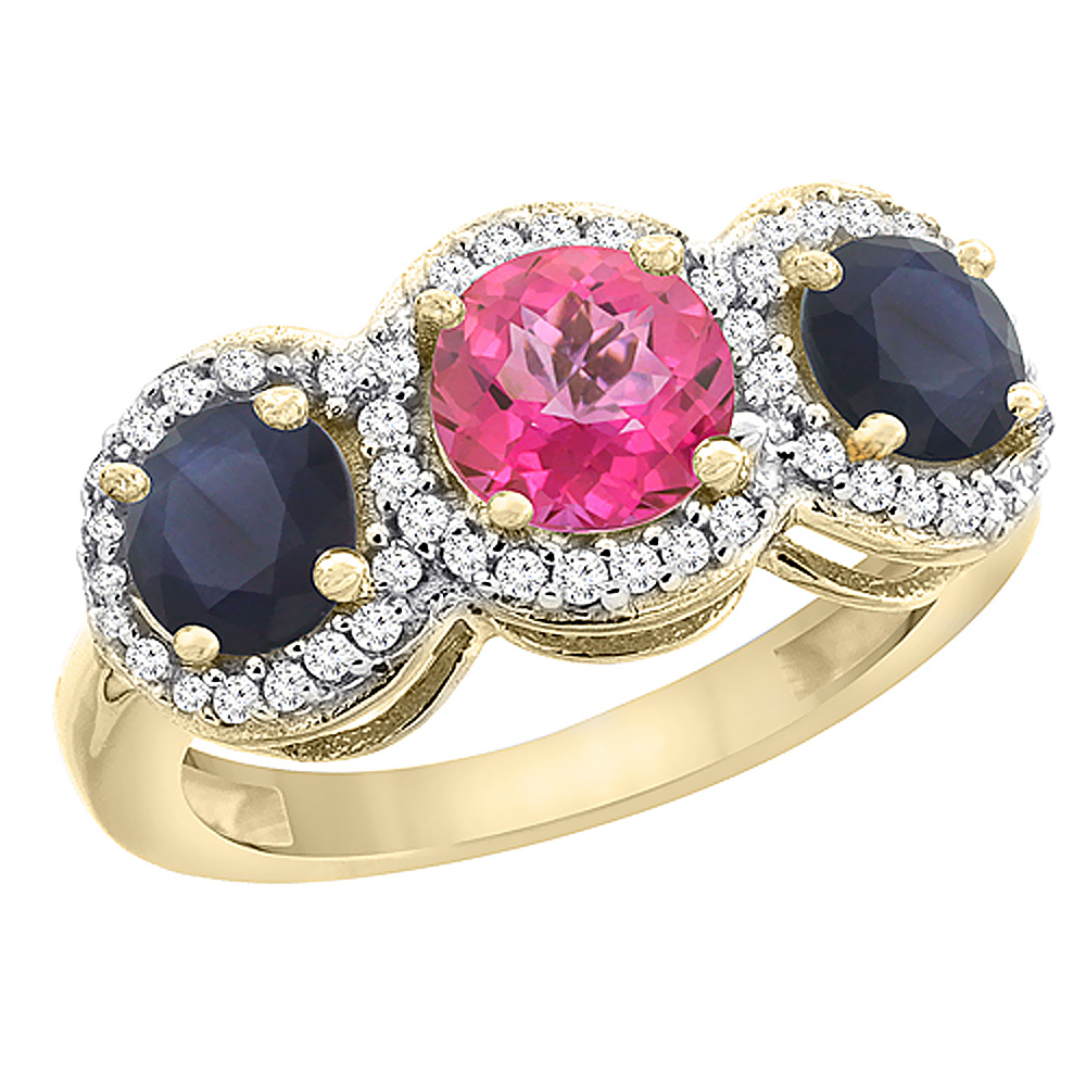 10K Yellow Gold Natural Pink Topaz & High Quality Blue Sapphire Sides Round 3-stone Ring Diamond Accents, sizes 5 - 10