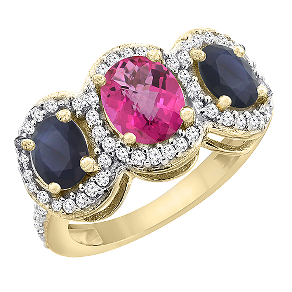 10K Yellow Gold Diamond Natural Pink Topaz 7x5mm & 6x4mm Quality Blue Sapphire Oval 3-stone Ring,sz5-10